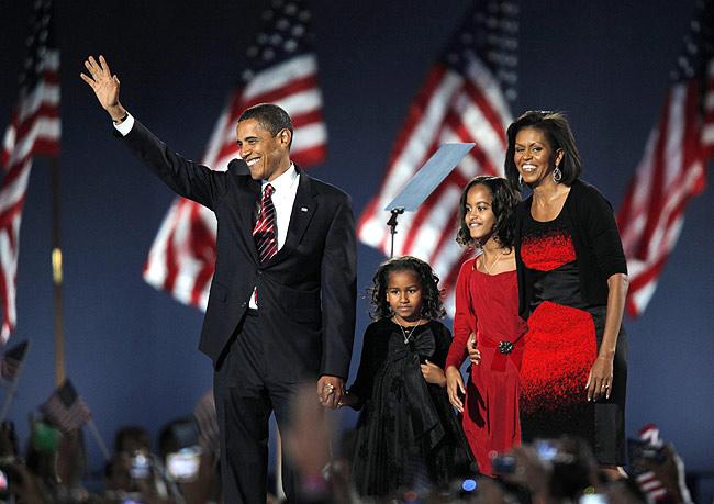 Los Obama en su noche de gloria